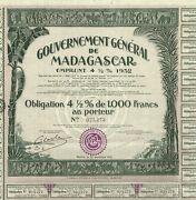 Africa General Government Of Madagascar Stock Certificate/bond
