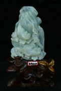 Chinese 100 Natural Xiuyu Jade Carved Fengshui Flower Tree Bird Ornament Statue