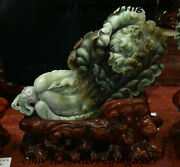 China Natural Dushan Jade Stone Carving Fengshui Chinese Cabbage Ornament Statue