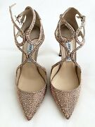 Auth 2,999 Jimmy Choo 100mm Gold Crystal Embellished Shoes Sz 39