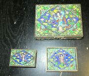 Cloisonne Repousse Yellow Enamel Chinese Girl Humidor Jar Box Match And Tray Set