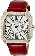 Faceaward Watch Genuine Leather Band Glitter Yg/wh/rd