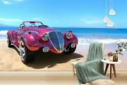 3d Antique Car Red T358 Transport Wallpaper Mural Self-adhesive Removable Sunday