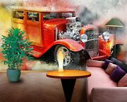 3d Antique Red Car T040 Transport Wallpaper Mural Self-adhesive Removable Sunday
