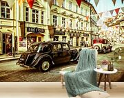 3d Antique Black T383 Transport Wallpaper Mural Self-adhesive Removable Sunday