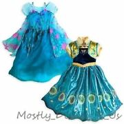 New Disney Store Frozen Fever Elsa And Anna 2 In 1 Costume Gown Dress 5/6 9/10