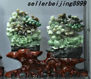 Chinese Jade Stone Carving Flower Bird Peach Withered Tree Ornament Statue Pair