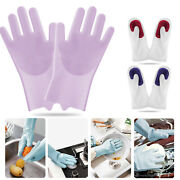 Pair Silicone Brush Dish Washing Gloves Kitchen Pet With Scrubber Cleaning Pink