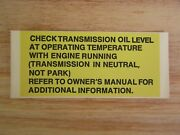 New Check Transmission Oil Level Label For Jeep Sj Cherokee Grand Wagoneer