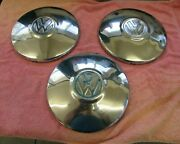 Set Of 3 1940and039s 1950and039s 1960and039s Vintage Volkswagon 9 1/2 Inch Hubcaps