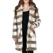 French Connection Womenand039s Notch Collar Plaid Print Faux Fur Mid-length Coat
