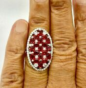14k Gold Over Colleen Lopez 4.6ctw Red Sapphire And White Zircon Ring Size 5 Hsn