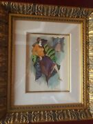 Itzchak Tarkay Mixed Media With Watercolor Solace Signed / Unique Work