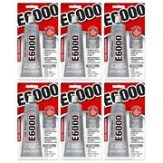 E6000 Craft Glue Adhesive Industrial Strength Bond Paintable 3.7oz Clear, 6-pack