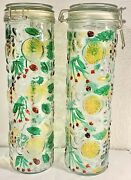 2 Colored Fruit Glass Canister Paneled Jar Bale Wire 13 Inch