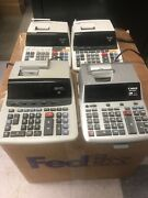Lot 4 Sharp And Canon 12 Digit Standard Function Electronic Printer Calculator
