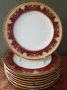 Antique Minton And Co 9.75 Red Burgundy Gold Encrusted Dinner 9 Plates