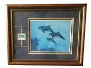 Signed Dolphin Print 410/1000 Kenneth Aunchman And Marshall Islands Andlsquo84 Dolphin St