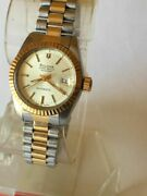 Bulova Super Seville 18ct Gold Plated Automatic Womens Watch, Rolex Style Design