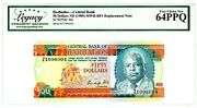 Barbados ... P-40r ... 50 Dollars ... Nd1989 ... Choice Unc. Replacement Z