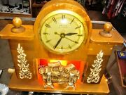 Vintage United Self Starting Realistic Lighted Fireplace Plug In Wooden Clock.