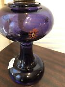 Antique Deep Purple Oil Lamp Hand Painted With Chimney