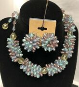Vintage Marvella Sterling Andldquopurple And Blueandrdquo Glass Bead Choker Necklace And Earrings