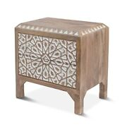 26.5 T Bedside Table Solid Mango Wood Hand Carved White Front Modern Rustic
