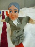 Vintage Old Lady Hand Puppet Vinyl Head Great Condition