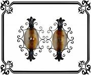 Large 25 5/8 Italian Murano Glass Pair Of Wall Sconces Wrought Iron