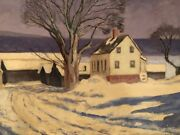 Rural Snow Landscape With Farmhouse Signed Charles Durant