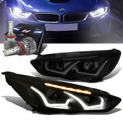 Tinted Clear Drl Halo Projector Headlights+slim Led Hid Kit For 15-18 Ford Focus