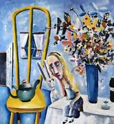 Charles Blackman Alice On The Table Signed Limited Edition Print 73cm X 67cm