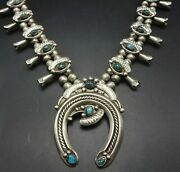 Signed Vintage Navajo Sterling Silver Bisbee Turquoise Squash Blossom Necklace