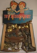 Old 1950s Mini Tin Toy Store Box W/100+ Clickers Police Badge Pins Whistles +