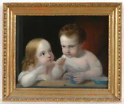 Attributed To Eduard Von Engerth 1818-1897 Children Playing With Soap Bubbles