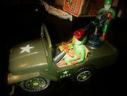 Amazing Tin Desert Patrol Army Jeep Battery Operated By Mt Japan From 60s