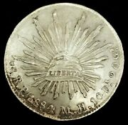 1884 Pi Mh Silver Mexico 8 Reales Cap And Rays Coin San Luis Potosi Mint