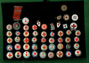 Uu1.  Lot Of Fifty 50 Red Cross Lapel And Tin Badges