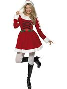 Deluxe Miss Santa Claus Christmas Xmas Cute Hooded Fancy Dress Costume