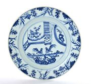 17th Century Kangxi Chinese Blue And White Porcelain Plate With Rooster Chicken