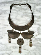 Antique Chinese Minority Hmong Tribal Low Silver Alloy Collar Fish Necklace Vtg