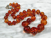 Huge Old Antique Chinese Carved Melon Bead Baltic Amber Necklace 94.8 Grams