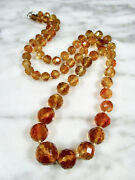Victorian Faceted Madeira Citrine Large Round Bead 14k Gold Necklace 254 Carats