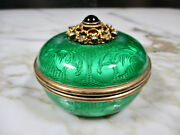 Austro Hungarian Enamel Gold Wash Engraved Sterling Silver Jewel Encrusted Box