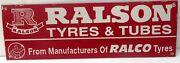 Vintage Ralson Tyres And Tubes Automobile Enamel Porcelain Advertising Sign India