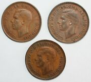 3 Coin Lot 1941-1943 Australia Bronze Penny Coins 1c Large Cent Xf Extra Fine