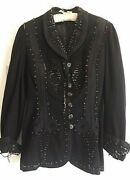 Authentic Antique Victorian Womanand039s Button Front Embroidered Jacket Circa 1800and039s
