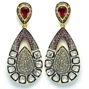 Victorian 3.15cts Rose Antique Cut Diamond Ruby Silver Danglers Earring Jewelry