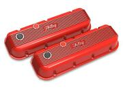 Holley Bbc Vintage Series Finned Valve Covers Red Machined Finish 241-303